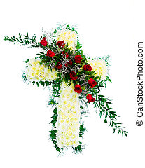 Funeral flower arrangement - Colorful funeral flower...