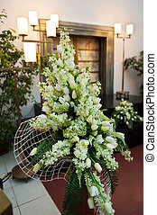 Funeral flowers - Large funeral flowers in wreath with...