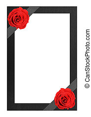 Funeral frame with red roses