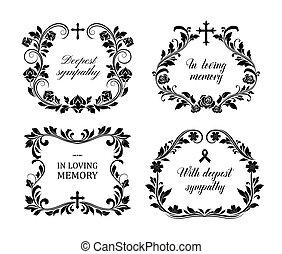 Funeral frames, vector vintage obituary wreath set