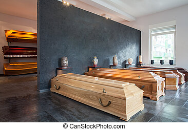Funeral home - Coffins standing in funeral house