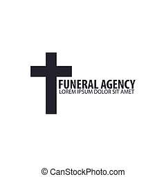 Funeral home undertaking ceremonial service. Funeral agency. Vector logo and emblem.