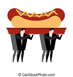 Funeral hot dog. Fast food is carried in coffin. burial of...