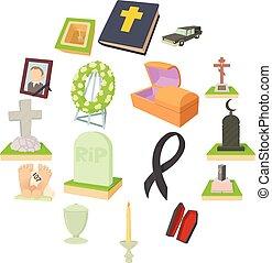 funeral, iconos, conjunto, caricatura, estilo