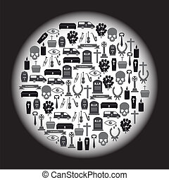 funeral, iconos, conjunto, en, círculo, eps10