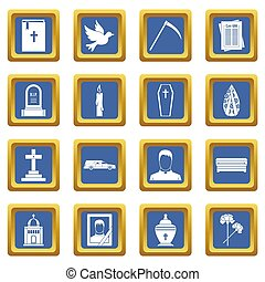 Funeral icons set blue