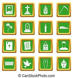 Funeral icons set green