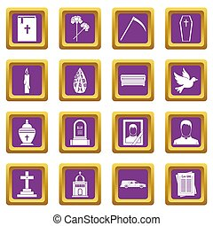 Funeral icons set purple