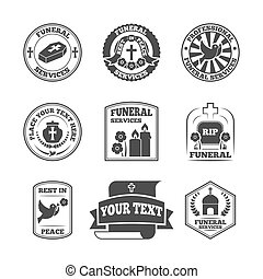 Funeral labels icons set - Funeral home undertaking...