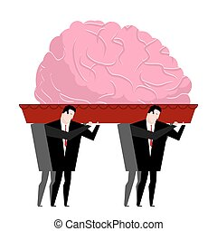 Funeral of brain. Mind is carried in coffin. burial...