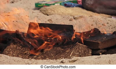 Funeral Pyre and Cremation Ritual, Ganga, India - Medium...