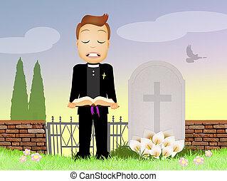 funeral, sacerdote, celebra