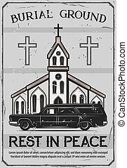 Funeral service, church and catafalque hearse