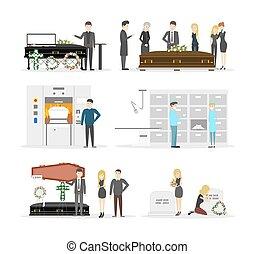 Funeral service interior. - Funeral service interior set....