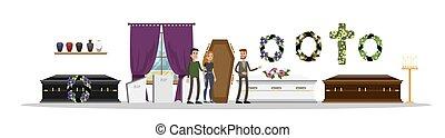 Funeral service interior. Sad couple choosing coffin....