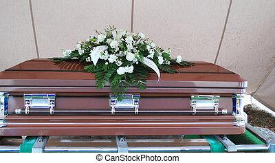 Casket at a funeral service.