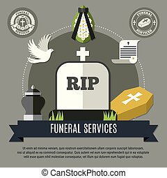 Funeral Services Concept - Funeral services concept with...