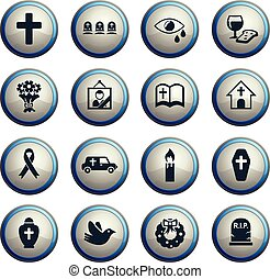 funeral services icon set - funeral services web icons for...