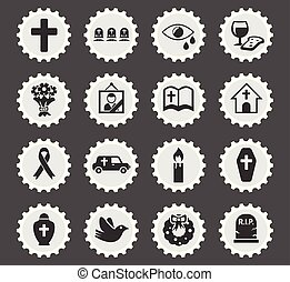 funeral services icon set - funeral services web icons...