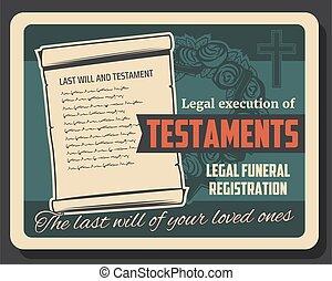 funeral, testamento, ejecución, servicio