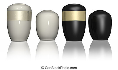 Four urns on a white isolated background