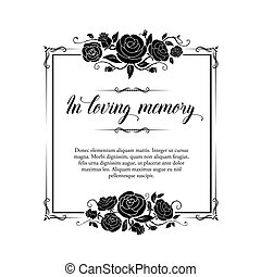 Funeral vector card, retro frame with rose flowers