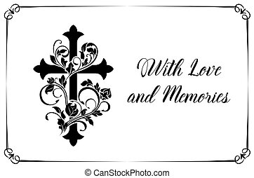 Funeral vector card with cross and floral ornament