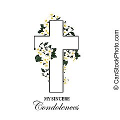 Funeral vector card with cross and white flowers
