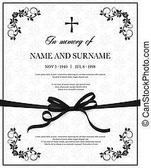 Funeral vector card with vintage obituary template