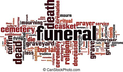 Funeral word cloud concept. Vector illustration