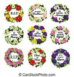 Funerary round frames, funeral flower wreath set