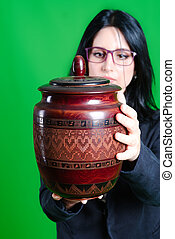 funerary urn and girl in the green screen