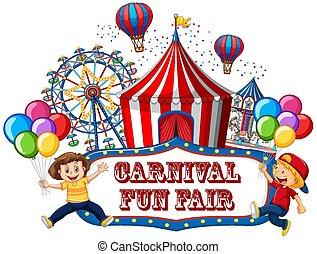 funfair, bannière, coloré, carnaval