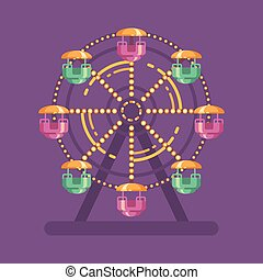 Funfair carnival flat illustration. Amusement park illustration with a Ferris wheel at night on purple background