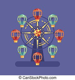 Funfair carnival flat illustration. Amusement park illustration with a Ferris wheel at night on blue background