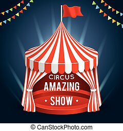 Funfair circus vector. Poster with tent