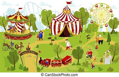 funfair, gens, illustration, été, heureux, vecteur, famille, parc, amusement, ensemble