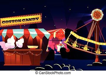 Funfair or fairground cartoon vector illustration of...