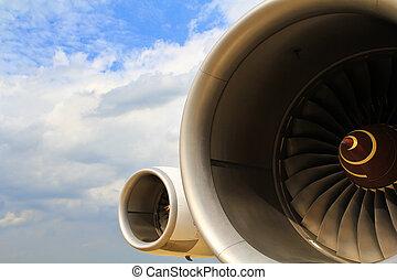fungerer, en, flyvemaskine, jet motor, ind, lufthavn