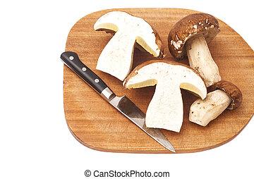 funghi, affettato, tagliere, coltello