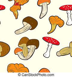 funghi, carta da parati, seamless