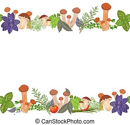 funghi, erbe, bordo, seamless