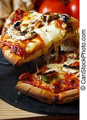 funghi, fetta, pizza