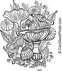 funghi, libro colorante, pagina, adulto