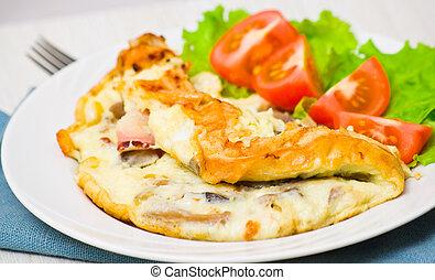 funghi, pancetta affumicata, omelette