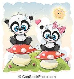 funghi, pandas, cartone animato, due, seduta