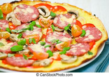 funghi, salsiccia, pizza