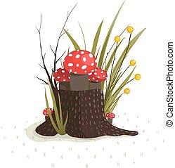 funghi, toadstool, ceppo, foresta, crescente
