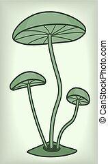 Illustration of the cartoon vintage mushrooms
