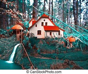 fungo, cottage, in, forest., collage, fantasia, fondo